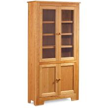 """See Details - Shaker Wide Bookcase with Glass Doors on Top and Wood Doors on Bottom, 5 Adjustable Shelves / 37 """"w"""