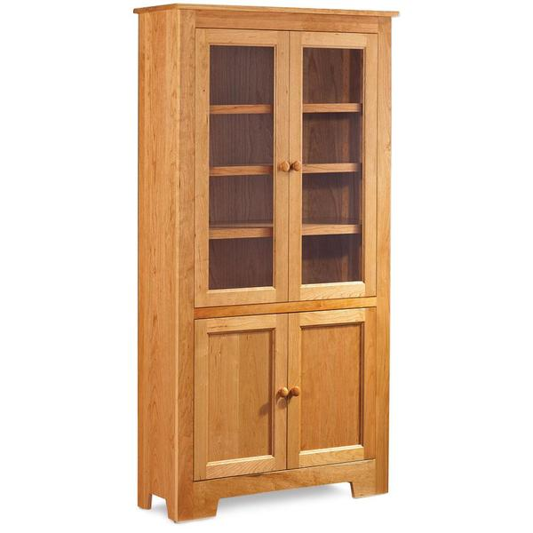 """See Details - Shaker Wide Bookcase with Glass Doors on Top and Wood Doors on Bottom, 3 Adjustable Shelves / 37 """"w"""