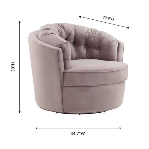 Eloise Mauve Velvet Swivel Chair