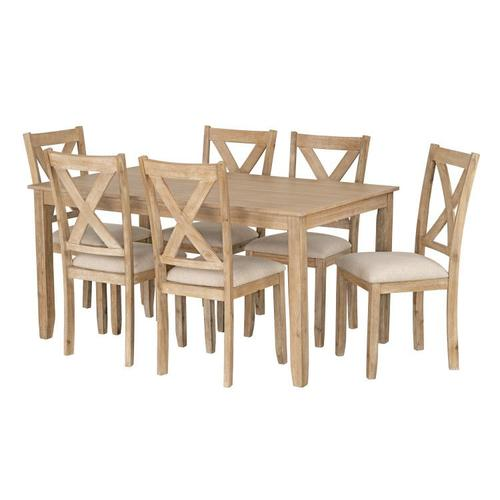 Gallery - Langston Light Dining Table and 6 Upholstered Chair Set, Natural