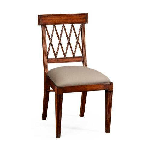 Regency Style Lattice Back Dining Side Chair