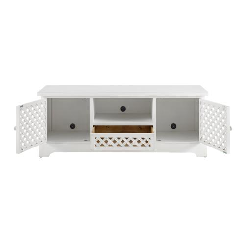 2-door and 1-drawer TV Cabinet, Distressed White