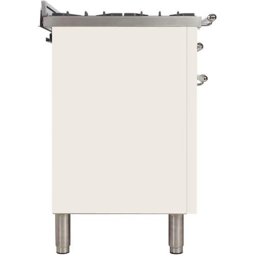 Nostalgie 36 Inch Dual Fuel Natural Gas Freestanding Range in Antique White with Chrome Trim