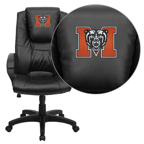 Mercer University Bears Embroidered Black Leather Executive Office Chair