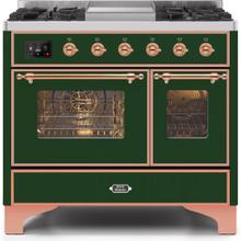 Majestic II 40 Inch Dual Fuel Natural Gas Freestanding Range in Emerald Green with Copper Trim