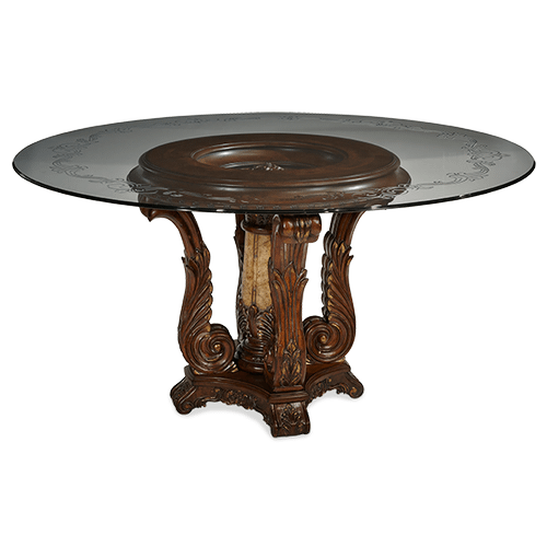 60 Round Decorative Glass Top Dining Table (2 pc)