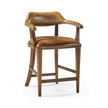 See Details - Walnut Library Counter Stool, Upholstered in Antique Chestnut Leather