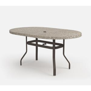 """42"""" x 72"""" Oval Balcony Table (with Hole) Ht: 34.25"""" 37XX Universal Aluminum Base (Model # Includes Both Top & Base)"""