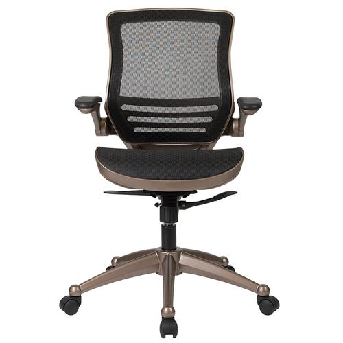 Gallery - Mid-Back Transparent Black Mesh Executive Swivel Office Chair with Melrose Gold Frame and Flip-Up Arms