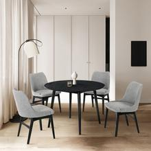 """See Details - Arcadia and Azalea 48"""" Round Grey and Black Wood 5 Piece Dining Set"""