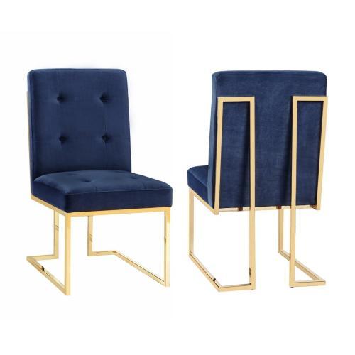 Tov Furniture - Akiko Navy Velvet Chair (Set of 2)