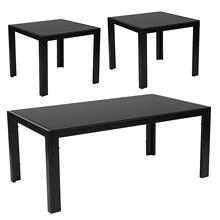 Franklin Collection 3 Piece Coffee and End Table Set with Black Glass Tops and Black Metal Legs