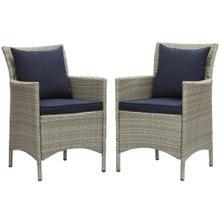 Conduit Outdoor Patio Wicker Rattan Dining Armchair Set of 2 in Light Gray Navy