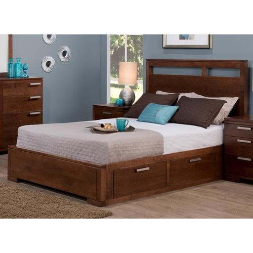"""- Cordova Queen 4 Drawer Storage Platform Bed With 15"""" Low Footboard"""