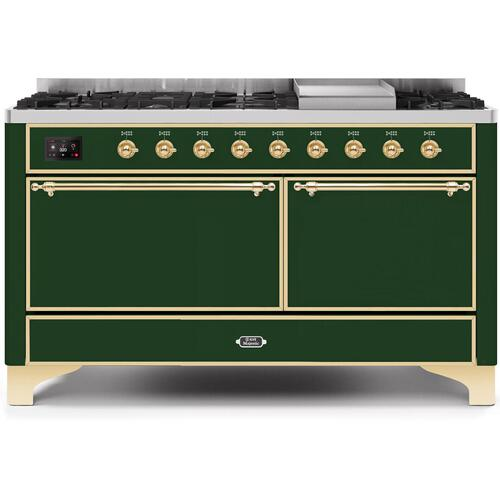 Ilve - Majestic II 60 Inch Dual Fuel Natural Gas Freestanding Range in Emerald Green with Brass Trim