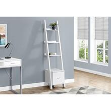 "BOOKCASE - 69""H / WHITE CORNER ETAGERE W/ DRAWER"