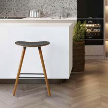 """View Product - Piper 26"""" Counter Height Backless Bar Stool in Grey Faux Leather and Walnut Wood"""