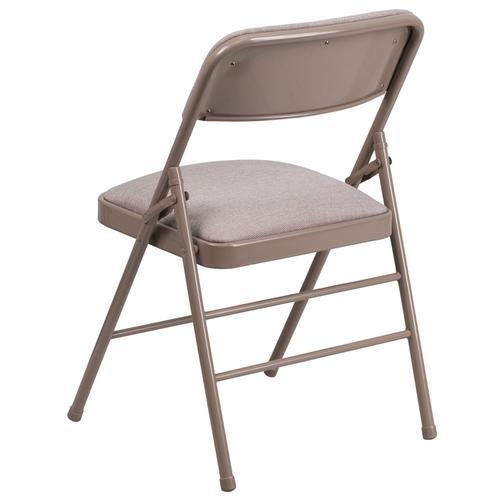 HERCULES Series Triple Braced Beige Fabric Upholstered Metal Folding Chair
