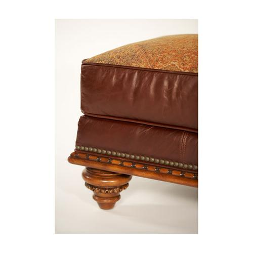 Fabric/Leather Chair and 1/2 Ottoman