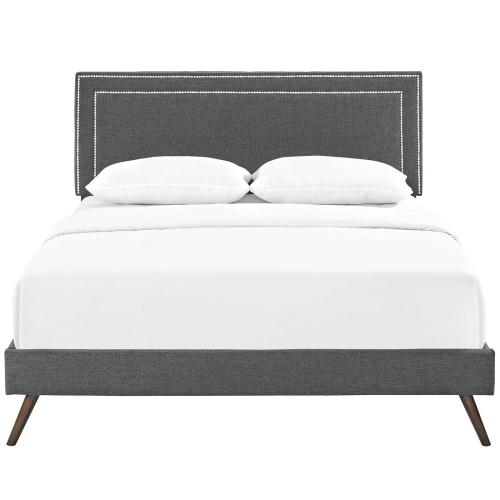 Virginia King Fabric Platform Bed with Round Splayed Legs in Gray