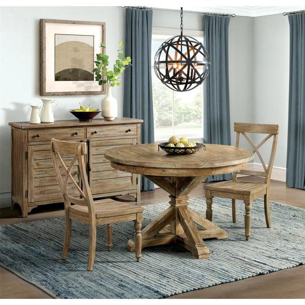 See Details - Sonora - Round Dining Table Base - Snowy Desert Finish