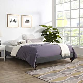 Loryn Queen Fabric Bed Frame with Round Splayed Legs in Gray