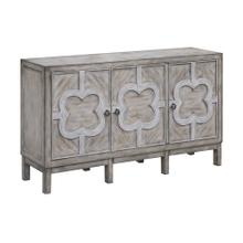 See Details - Buckingham 3 Door Grey Wash Veneer with White Fretwork Overlay