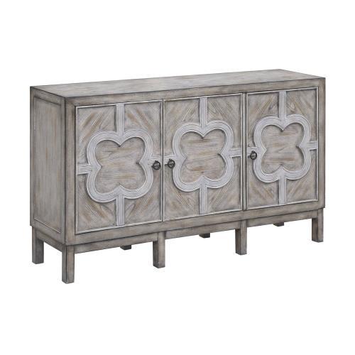 Buckingham 3 Door Grey Wash Veneer with White Fretwork Overlay