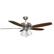 "52"" 5-Blade UFO Fan NK Silver/Walnut Blades 4-Light White Glass LED Kit"