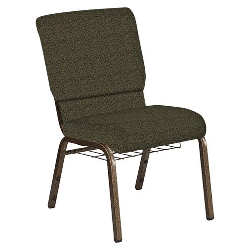 Flash Furniture - 18.5''W Church Chair in Lancaster Ash Berry Fabric with Book Rack - Gold Vein Frame