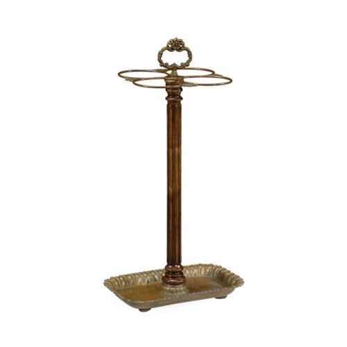 Walnut & Brass Umbrella Stand