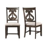 Stone Wooden Swirl Back Side Chair Set Product Image