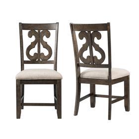 Stone Wooden Swirl Back Side Chair Set