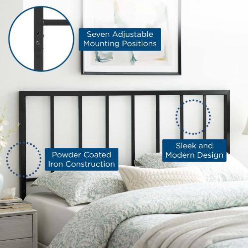 Tatum King Metal Headboard in Black