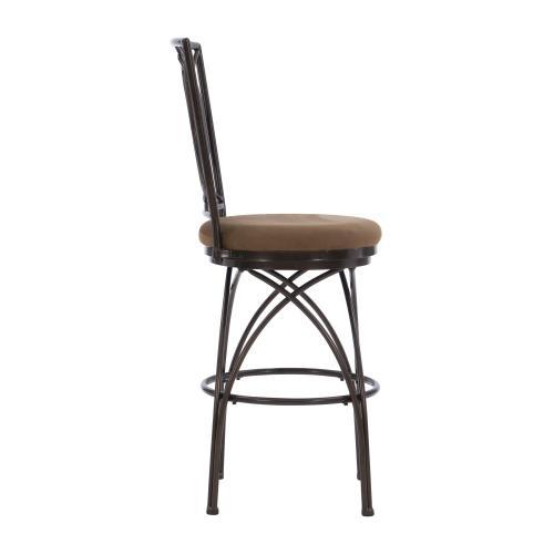 Upholstered Tan Seat and Metal Crossed Legs Barstool, Bronze and Tan