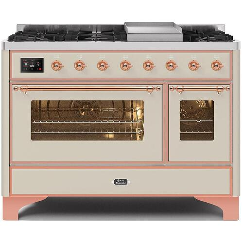 Majestic II 48 Inch Dual Fuel Liquid Propane Freestanding Range in Antique White with Copper Trim