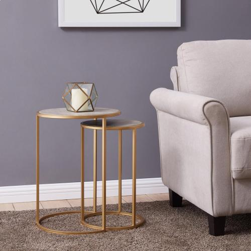 Anza Faux Shagreen Nesting Side/ End Table Set of 2, Chronicle Gray *