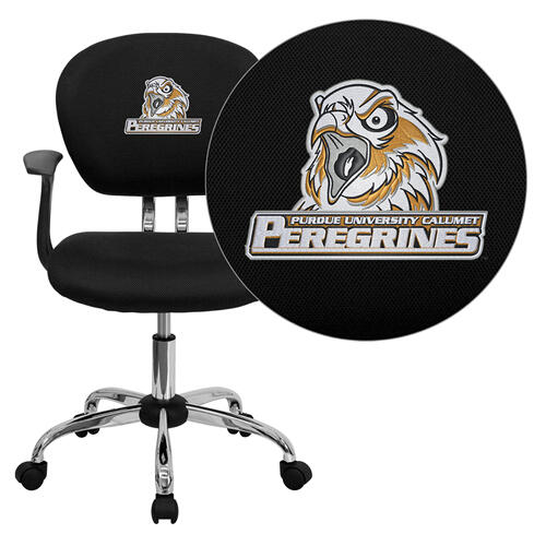 Purdue University Calumet Peregrines Embroidered Black Mesh Task Chair with Arms and Chrome Base