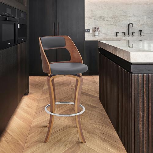 "Armen Living - Grady 30"" Swivel Gray Faux Leather and Walnut Wood Bar Stool"
