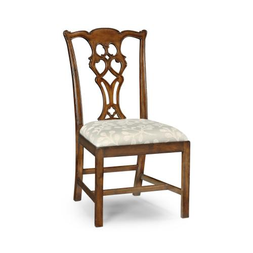 Chippendale Style Classic Walnut Side Chair