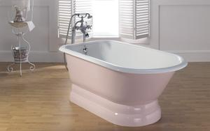 """TRADITIONAL Cast Iron Tub with Pedestal Base With 3 3/8"""" Faucet Holes in Tub Wall Product Image"""