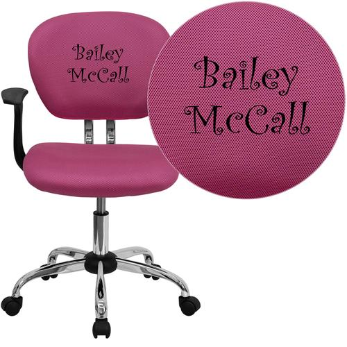 Personalized Mid-Back Pink Mesh Swivel Task Chair with Chrome Base and Arms