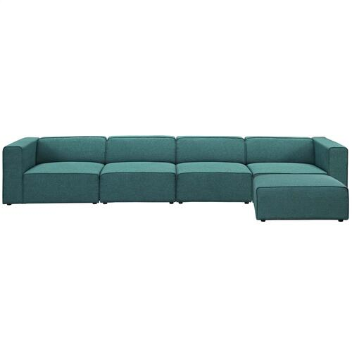 Mingle 5 Piece Upholstered Fabric Sectional Sofa Set in Teal