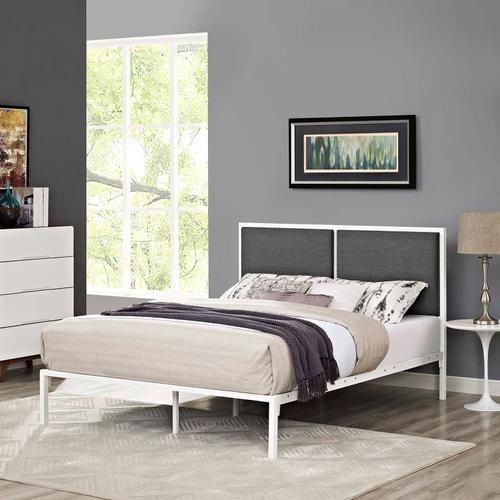 Modway - Della King Fabric Bed in White Gray