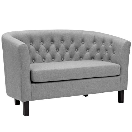 Prospect 3 Piece Upholstered Fabric Loveseat and Armchair Set in Light Gray