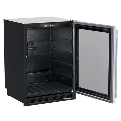 Gallery - 24-In Built-In High-Capacity Beverage Center with Door Style - Stainless Steel Frame Glass