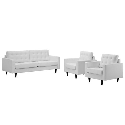 Modway - Empress Sofa and Armchairs Set of 3 in White