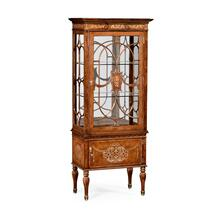 Burl & mother of pearl display cabinet right opening