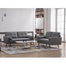 See Details - 8132 2PC LIGHT GRAY Linen Stationary Tufted Back Living Room SET