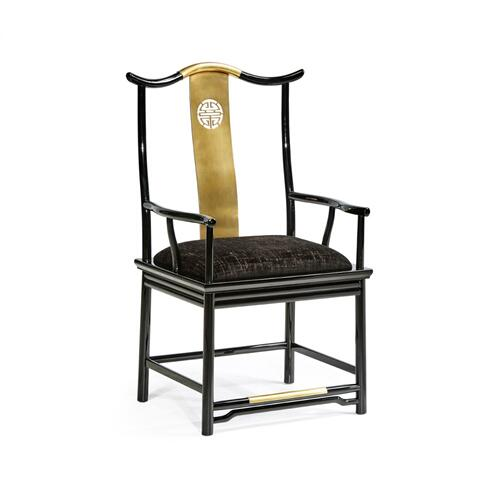 Asian Fusion Black Gloss & Brass Dining Arm Chair, Upholstered in Capriccio Ebony